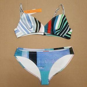 Clover Canyon Striped Eclipse Bikini Set Sz Large